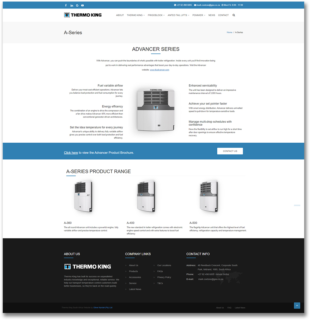 Thermo King - Product Page - HTML Web Development
