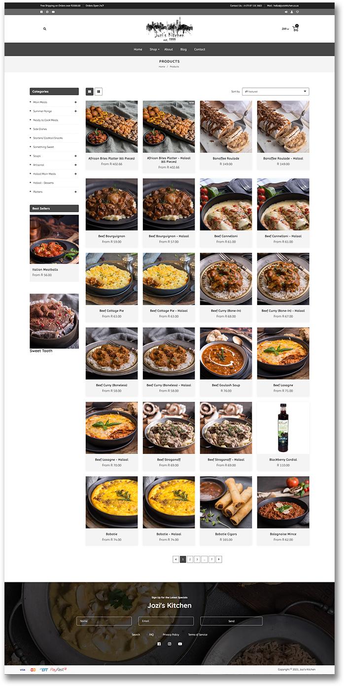 Jozi's Kitchen - Product Page - Shopify Website Development