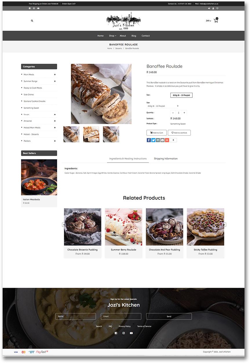 Jozi's Kitchen - Individual Product Page - Shopify Website Development