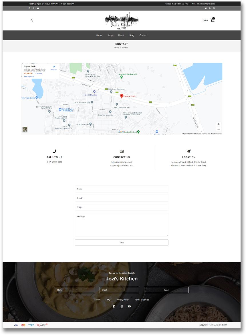 Jozi's Kitchen - Contact Us Page - Shopify Website Development