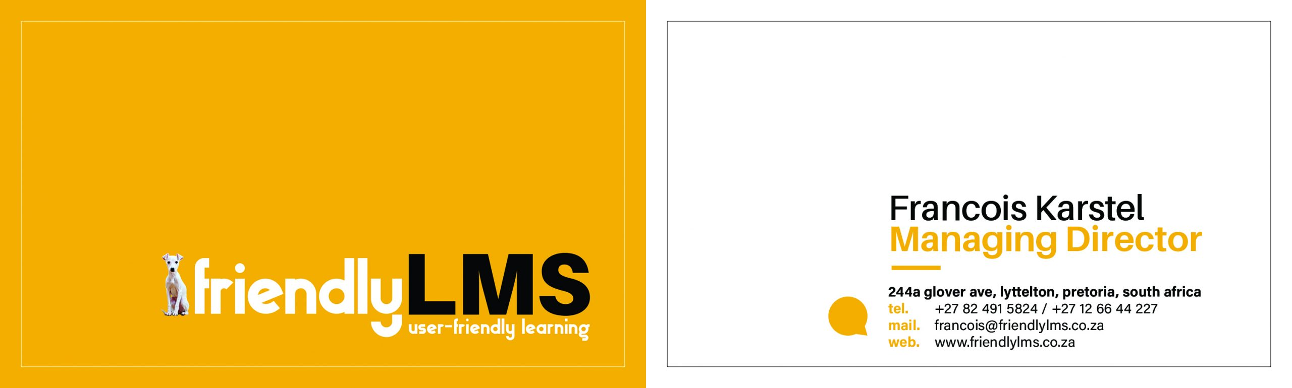 Friendly LMS Business Card Graphic design